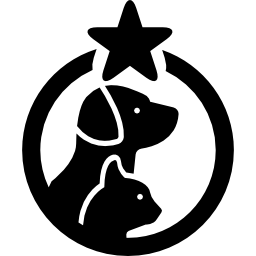 pets-hotel-symbol-with-a-dog-and-a-cat-in-a-circle-with-one-star2